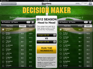 Bloomberg Sports Decision Maker Calculates Head to Head Matchups