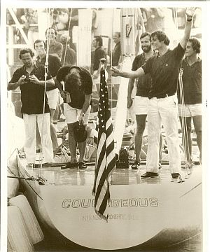 Ted Turner reforms his 1977 victorious 'Courageous' crew to commemorate their America's Cup win 35 years ago.