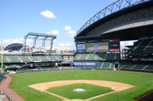 An image of the Perfect Game tossed by Seattle Mariners Felix Hernandez shines brightly on the new MarinersVision HD screen by Panasonic