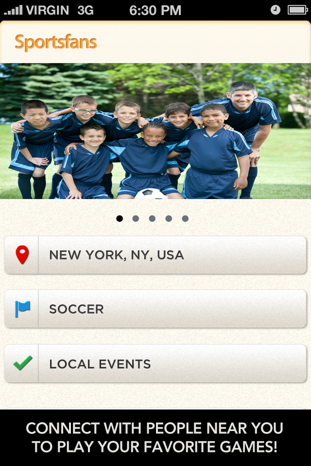 Each Sportsfans listing provides ratings, photos and directions, giving users the option to search for a local pick up basketball, soccer or golf match to play in.