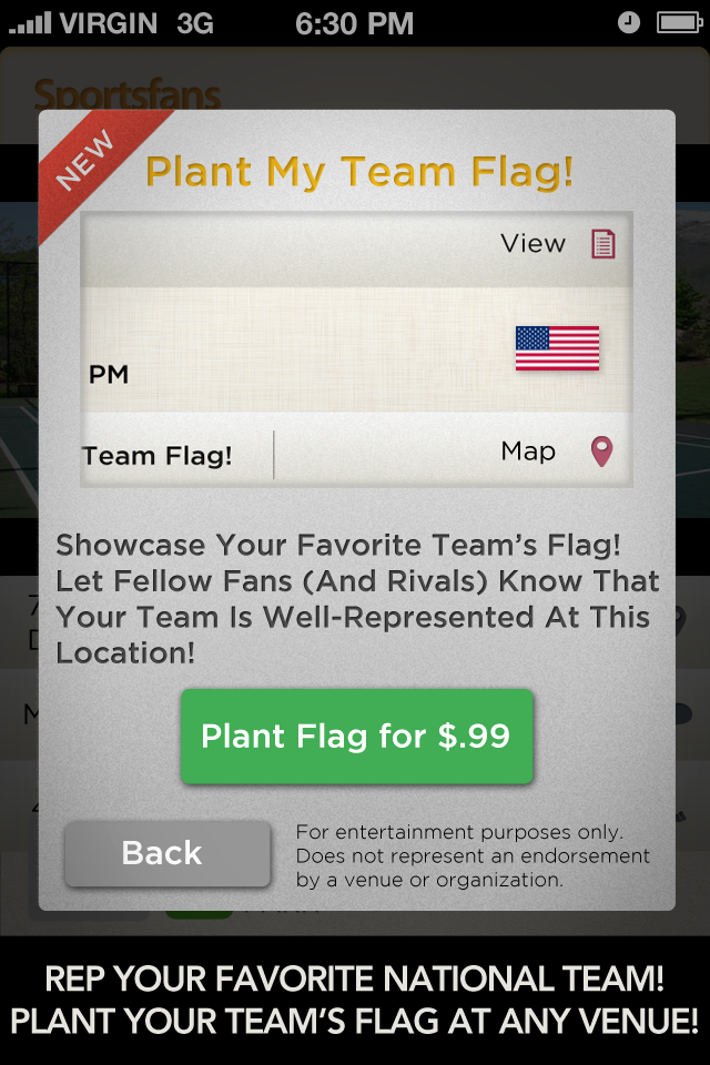 Raising a team flag with the Sportsfans app by using your Foursquare account is fun and has become a source of national and team pride