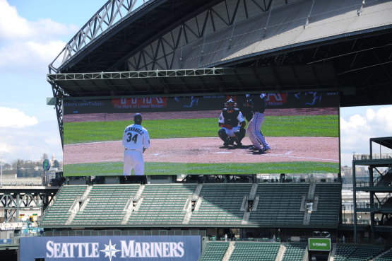The MarinersVision HD screen made by Panasonic is big at 11,425 square feet, the biggest of its kind in Major League Baseball