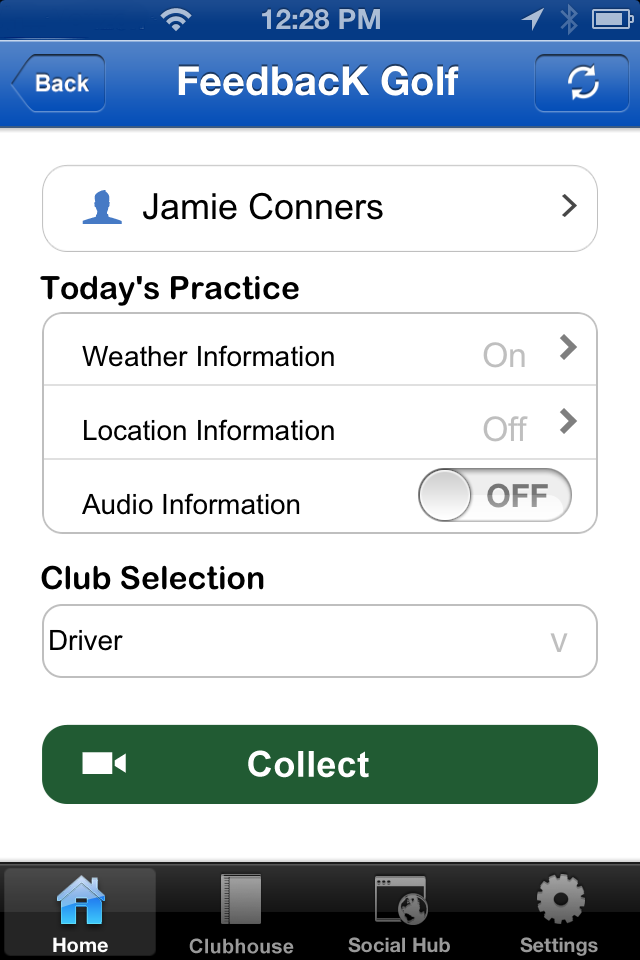 The FeedbacK Golf User Interface is personalized, adaptive, and an instant-feedback coaching system