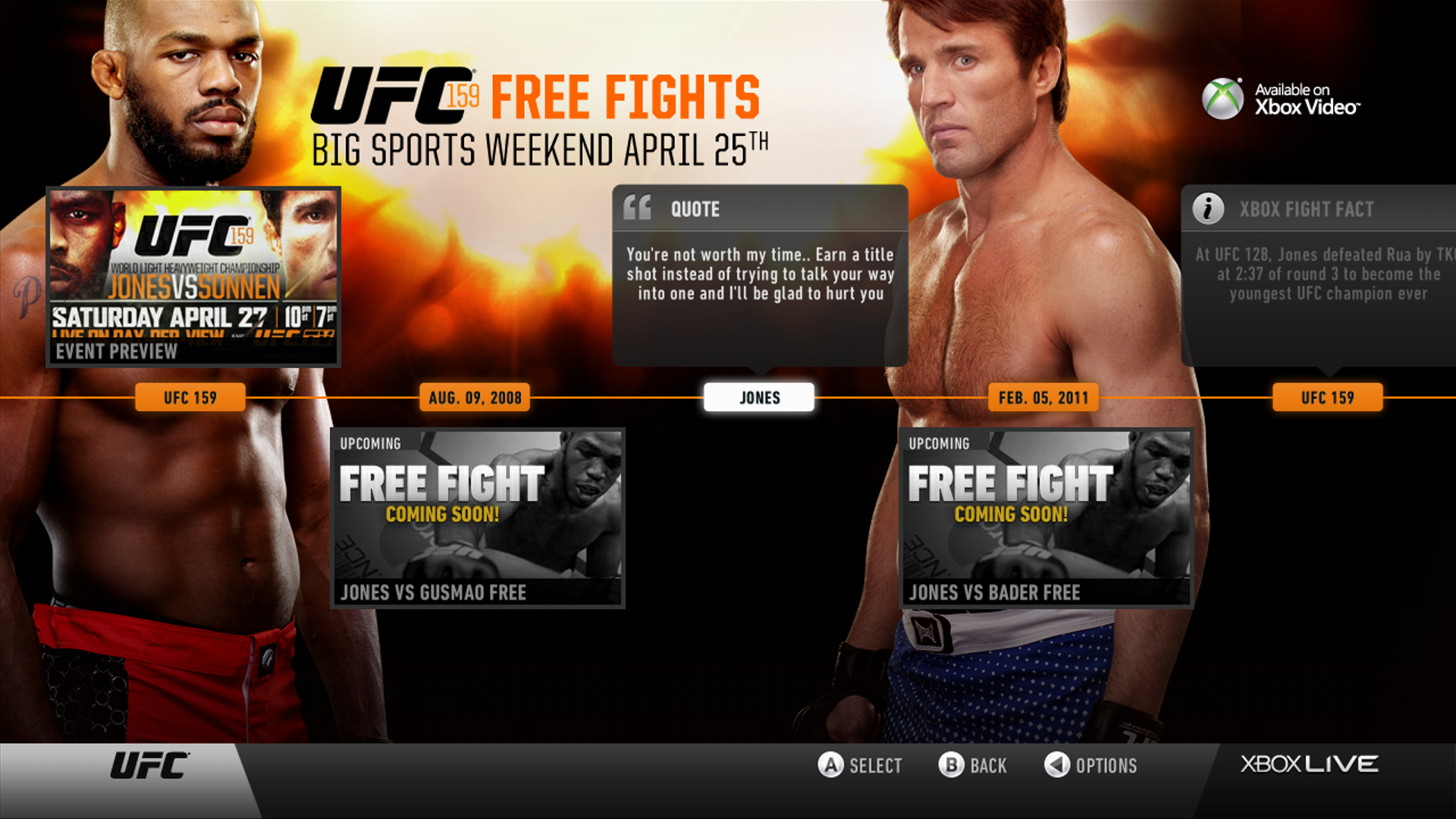 "Watch all 7 UFC Fight Story fights in preparation for Saturday's big UFC 159 Pay Per View fight between Jon ""Bones"" Jones and Chael Sonnen on Big Sports Weekend LIVE on Xbox."