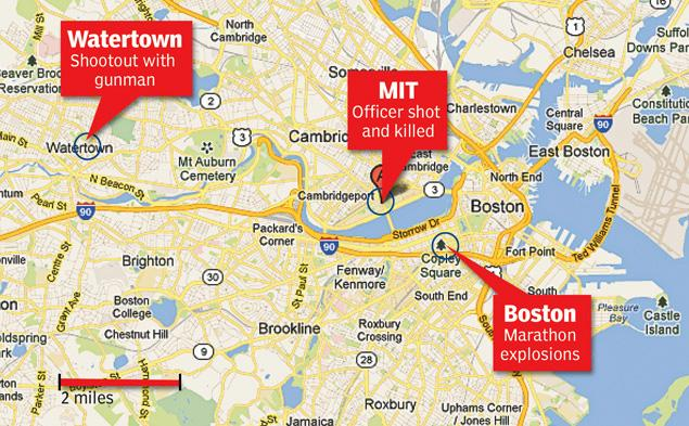 A map highlighting the Boston Marathon, MIT and Watertown locations.