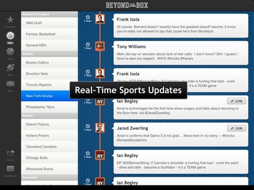 Beyond the Box App for iPad curates NFL, NBA, MLB, and hockey news, analysis, rumors, videos, photos, and player thoughts from 1,000 media sources and 2,000 players into a personalized sports timeline