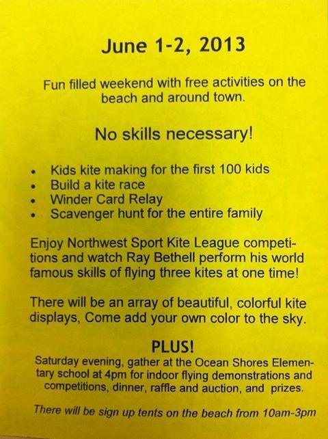 Ocean Shores Kite Flying Schedule, June 1-2, or August 17-18, 2013
