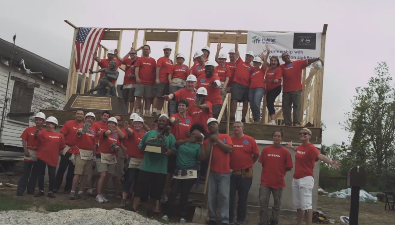 Heisman Trophy winners Danny Wuerfell, Eric Crouch, Johnny Rodgers, Mike Rozier and others lent their time to the Nissan and Habitat for Humanity project