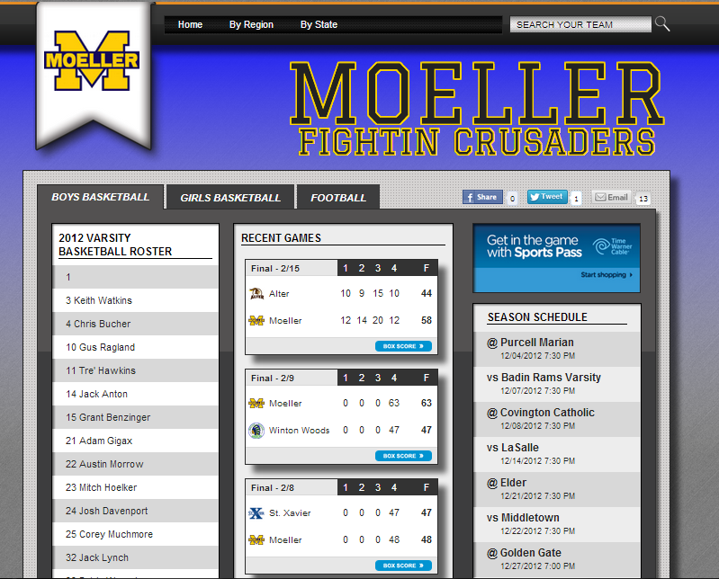 Moeller High School Team Page on Digital Scout