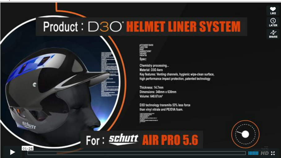 The new Schutt Sports Air Pro 5.6 helmet liner system with D3O sports tech