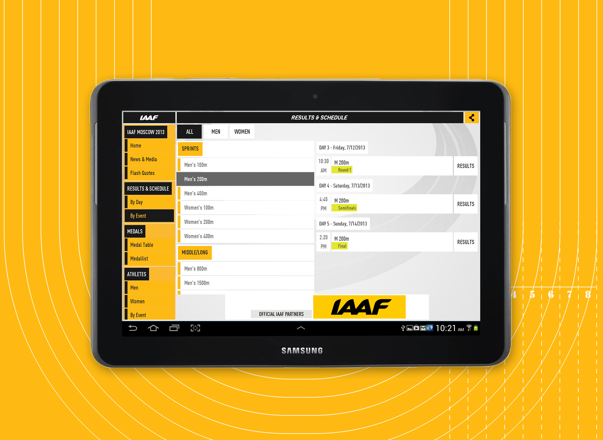 The IAAF app is available from the Apple App Store, the Google Play Store and the Amazon App Store
