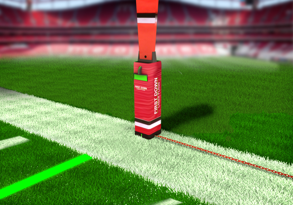 First Down Laser, with its end-zone projector and laser-embedded yardsticks, brings that technology to the field so players, coaches and fans inside the stadium can see what you see in your Sports Techie cave on crystal clear HD TVs, retina display tablets and smartphones