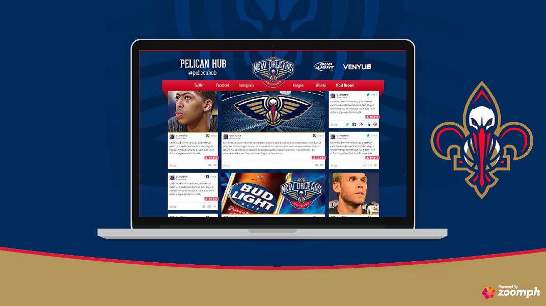 New Orleans Pelicans Social Hub mockup