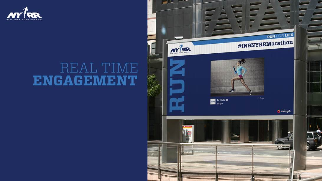 The New York Road Runners Social Hub Video Board, #INGNYRRMarathon, Run For Life