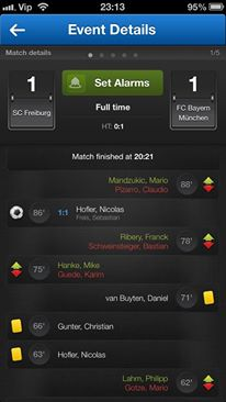 Score Alarm for iOS monitors results of sporting events, tracks sports events in real-time