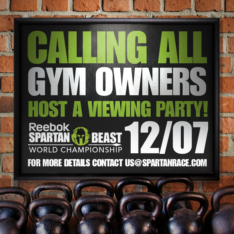 Are you a Bar or gym that would be interested in hosting a viewing party for the NBC Spartan Race World Championships? If so, Spartan Race will give your establishment a shout!