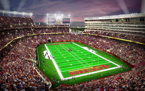 49ers Levi's Stadium will seat 68,500 inside 1,850,000 square feet showcasing a 13,000 square foot HD video scoreboard big screen jumbotron and two additional fascia display scoreboards.