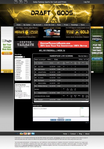 Draft Gods live scoring page