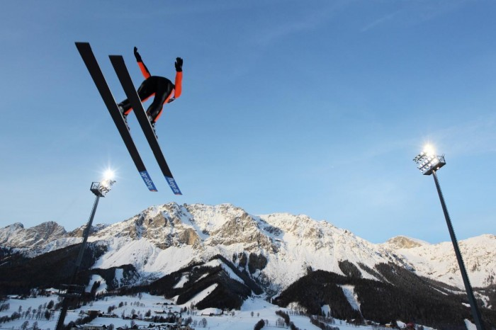 A 90-Meter ski Jump by Alissa Johnson of the Women's Ski Jumping Team USA