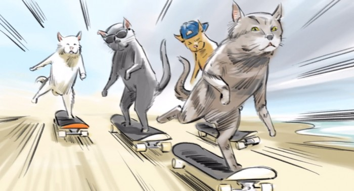 Newcastle Advert Skateboarding Cats