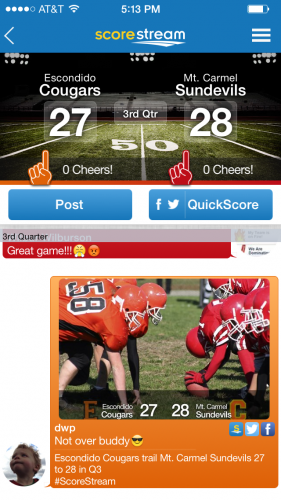 ScoreStream delivers real time high school and local scores across the country