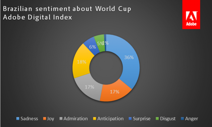 • 42% of Brazilians have expressed sadness, anger or disgust related to the World Cup