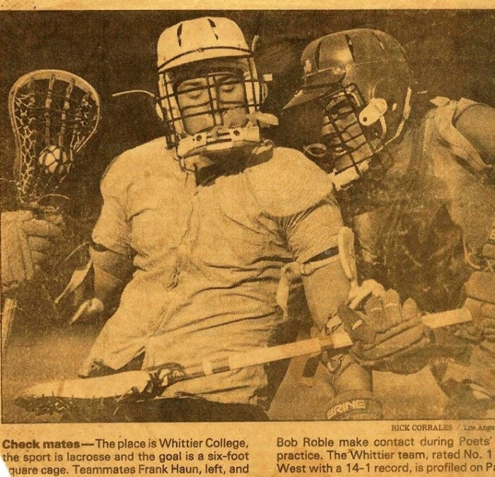 A 1985 @latimessports photo of Frank Haun and @THESportsTechie playing lacrosse @WhittierCollege. | Sports Techie blog
