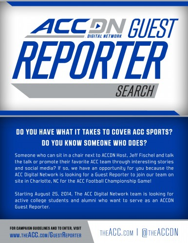 Opportunity for Students and Alumni to Cover the ACC Football Championship Game.