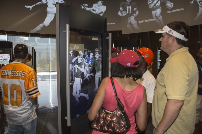 I (wearing white visor)spent over an hour at the College Football Hall of Fame gallery with like-minded fans who also love the game of football and the pioneering museum.