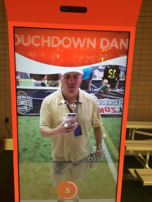 College Football Hall of Fame Coca-Cola Touchdown Dance Machine inside The Playing Field exhibit @THESportsTechie selfie.
