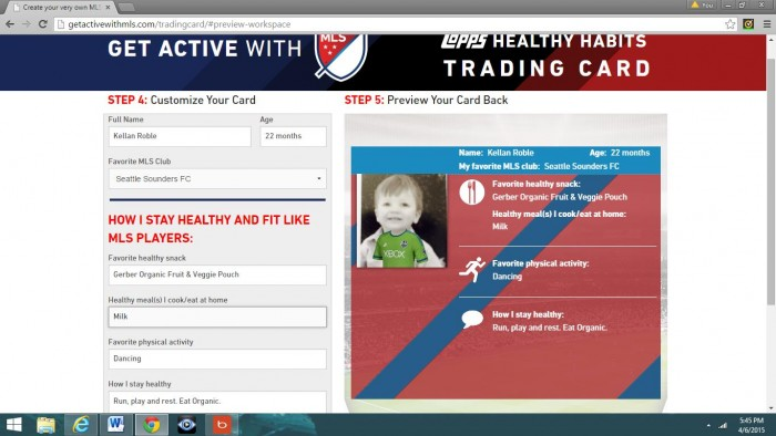MLS WORKS and Topps have developed a website at www.getactivewithmls.com/tradingcard where visitors can construct their own Topps Healthy Habits card.