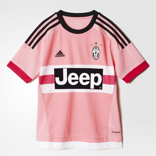 This junior boys' soccer jersey is a version of the one Juve wear when they take their goal-scoring game to their opponents.