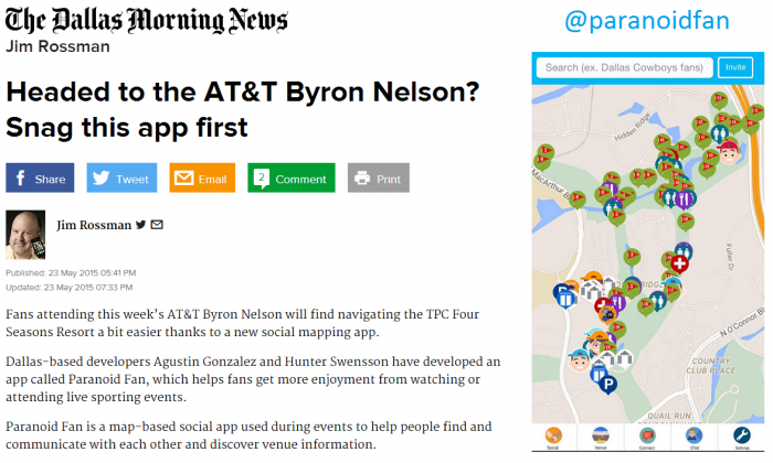Paranoid Fan partnered with the AT&T Byron Nelson to map out the PGA tournament in Dallas, Texas.
