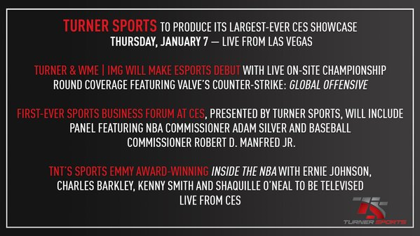 Turner Sports will have its largest footprint ever from CES 2016 in Las Vegas – part of an overall Turner presence throughout the week – including a daylong showcase at the Venetian, Levell 2, Hall D on Thursday, January 7.