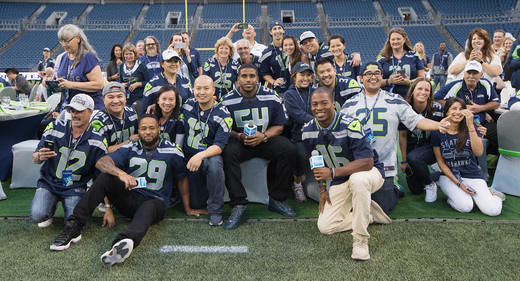 NFL All-Pro Earl Thomas, Bobby Wagner and Tyler Lockett, and fellow 12s, image via Mat Heyward / Getty Images for American Express.