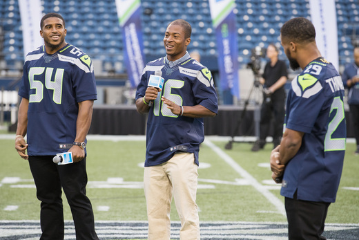 Seattle Seahawks players Bobby Wagner, Tyler Lockett and Earl Thomas greet fans at American Express Dinner on the 50 at CenturyLink Field on August 27, 2016 in Seattle, Washington. (Photo by Mat Hayward/Getty Images for American Express)