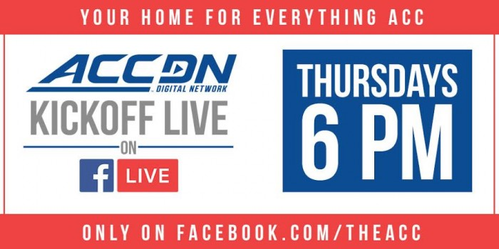 The ACC Digital Network Premieres 'ACCDN Kickoff Live' and 'ACC Football Players of the Week' on Facebook.