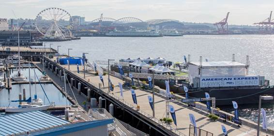 American Express Hawks Island returns October 16 before the Seattle Seahawks NFC showdown with the Atlanta Falcons.