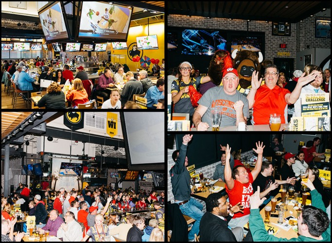 Wisconsin fans at Buffalo Wild Wings known as B-Dubs in Germantown, Wisconsin, photograph by Ryan Lowry for Bloomberg Businessweek.