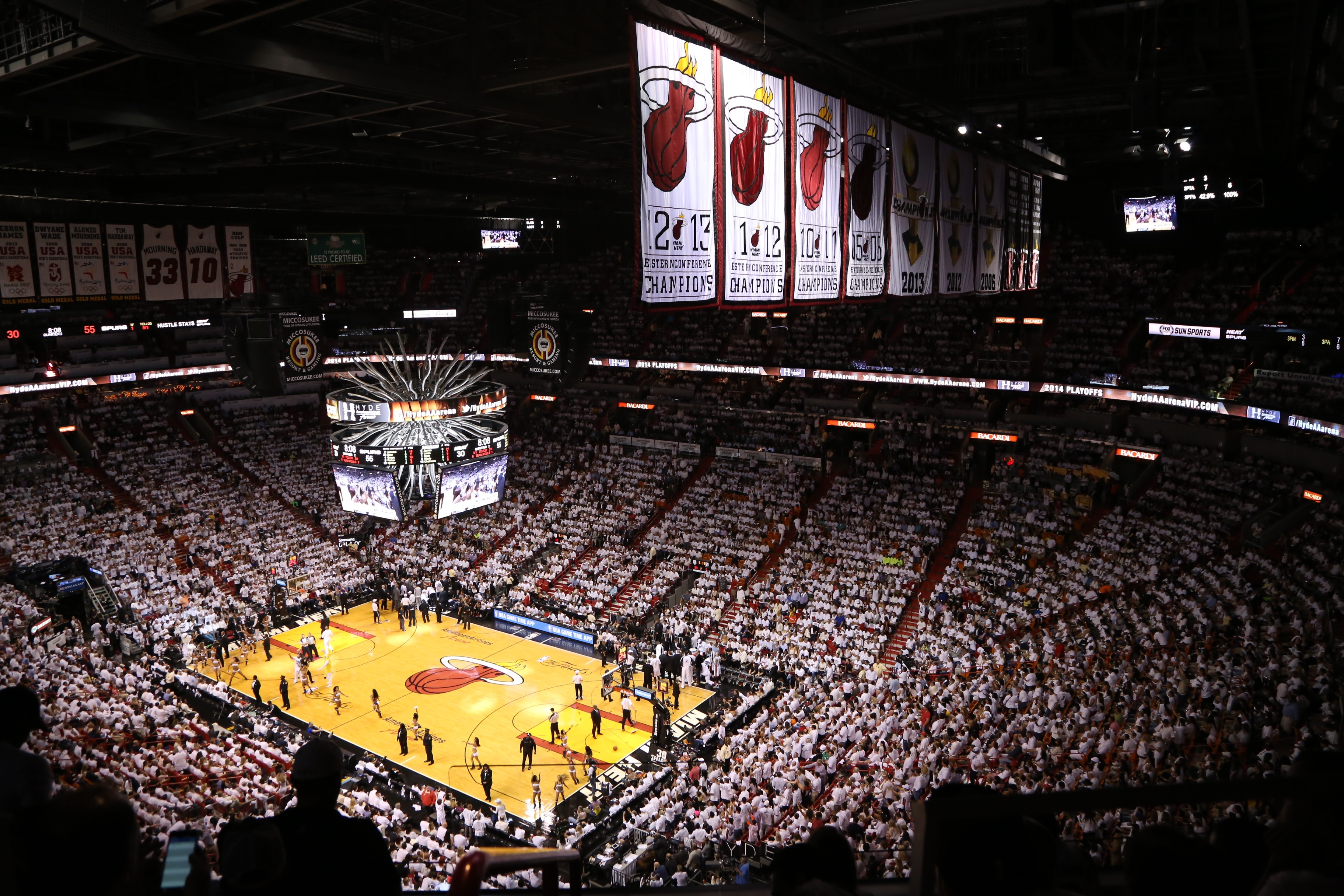 American Airlines Arena Install Eaton Ephesus Sports LED Tech For Miami HEAT NBA Games - SportsTechie blog, Photo Credit David Alvarez/Miami HEAT.