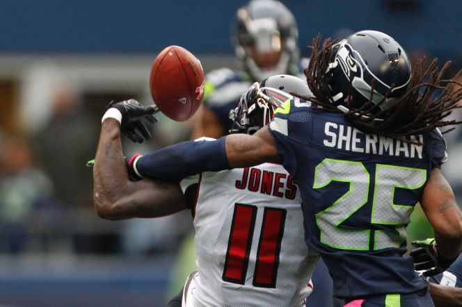 Was this pass interference by Richard Sherman of the Seattle Seahawks on Julio Jones of the Atlanta Falcons? Photo via Fox Sports.